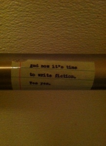 the writing is on the… pole.